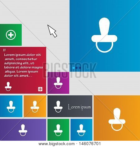 Baby Pacifier Icon Sign. Buttons. Modern Interface Website Buttons With Cursor Pointer. Vector