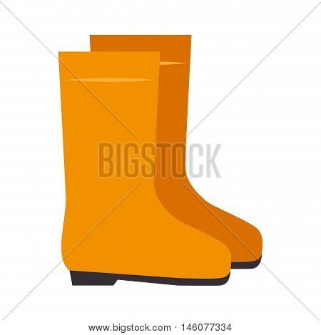 yellow boots  work safety  industrial equipment vector illustration