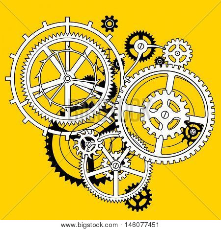 White and black linear gear wheels in flat style hole on yellow background. Techno symbol and background. Vector Illustration