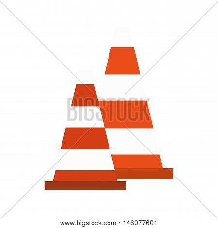 Orange safety traffic cone with white stripes vector illustration