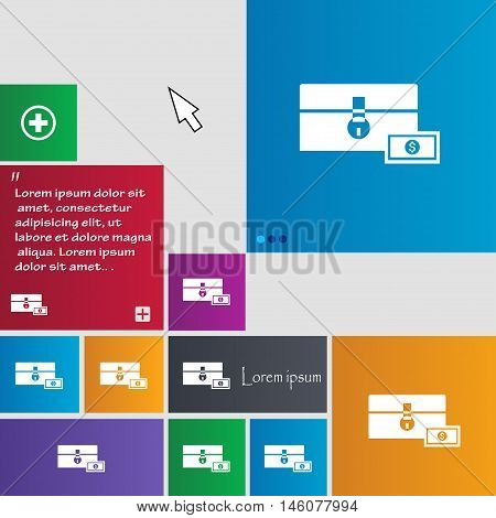 Chest Icon Sign. Buttons. Modern Interface Website Buttons With Cursor Pointer. Vector