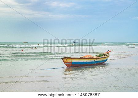JERICOACOARA, BRAZIL, DECEMBER - 2015 - Small boat at the most famous beach of Jericoacoara in Brazil