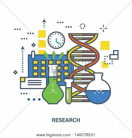 Concept of research. Color Line icons. Flat Vector illustration