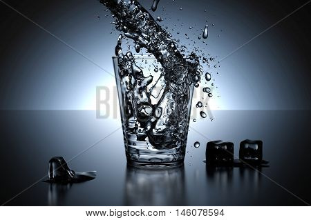 3d rendering - illustration of water pouring in glass with high speed shutter for water splash out from a glass