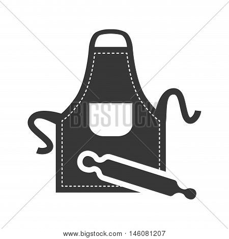 apron and rolling pin icon. Bakery food and shop theme. Isolated design. Vector illustration