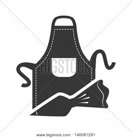 Apron and bag icon. Bakery food and shop theme. Isolated design. Vector illustration