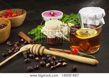 Hot cup of rosehip tea. Traditional treatment of colds and flu. Medicinal plants.