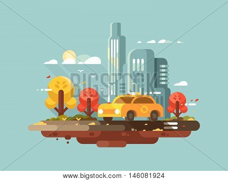 City taxi design flat. Yellow cab drive in town. Vector illustration