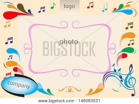Colorful tone and notes music background with g-clef and for instant photo corner or photobooth. Vector illustration