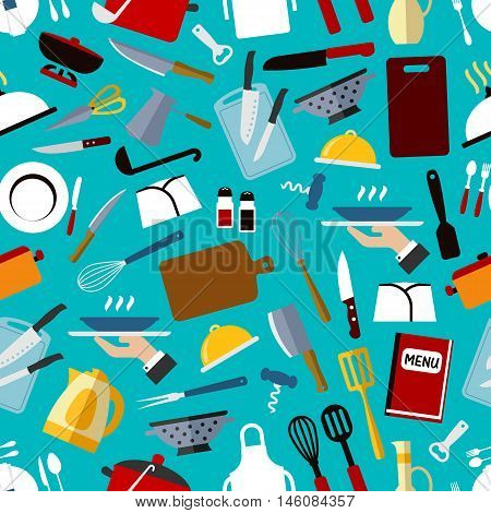 Restaurant kitchen utensils seamless pattern with knife, fork, spoon, chef hat, pan, spatula, menu, coffee pot, kettle, scissors, ladle, whisk tray cutting board apron plate on blue background
