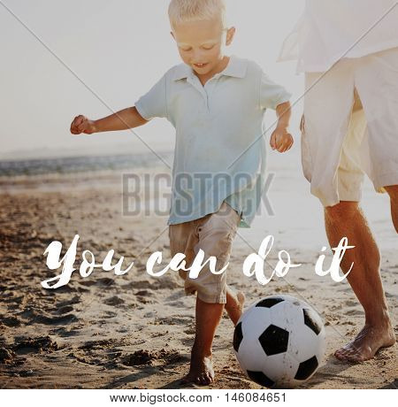 Active Coaching Guidance Father Bonding Concept
