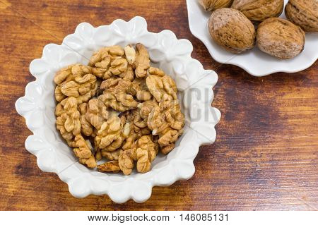 Fresh Walnuts In A White Bowl