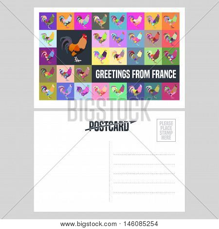 France vector postcard design with French symbol rooster in original style. Template illustration element nonstandard mail postcard with copyspace stamp and Greetings from France sign