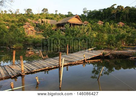 Wooden Bungalows At Koh Rong Island, Cambodia