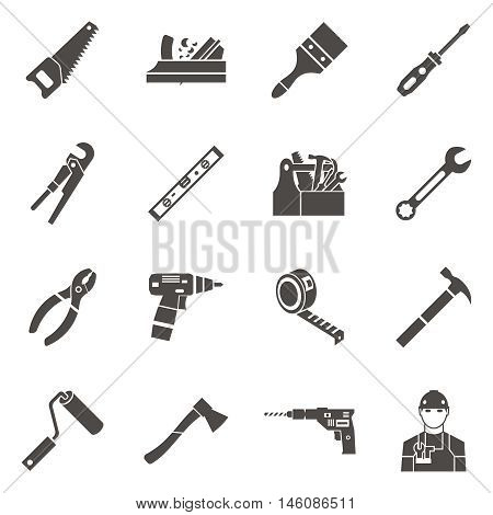 Isolated work tools icon set in black to repair the premises on white background vector illustration