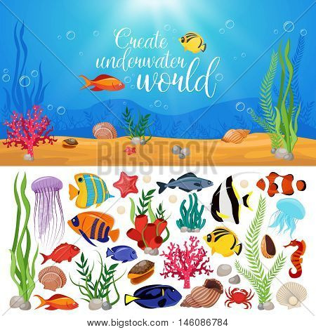 Sea life animals plants composition with underwater sea life marine icon set and title create underwater world vector illustration