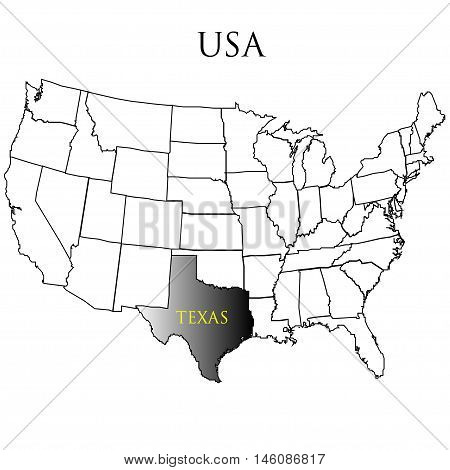 The State of Texas on the map of America. Vector illustration