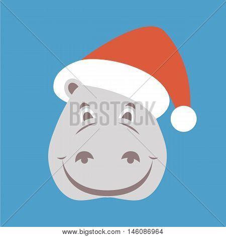 hippopotamus face in Santa hat vector illustration style Flat