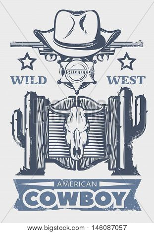 Wild west print or poster with American cowboy headline and cowboys attributes and elements vector illustration
