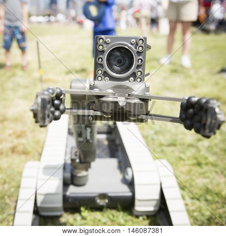 JERSEY CITY NJ MAY 29 2016: A small unmanned ground vehicle the US Navy uses to locate and dispose of explosive devices during a demonstration in Liberty State Park during Fleet Week 2016.