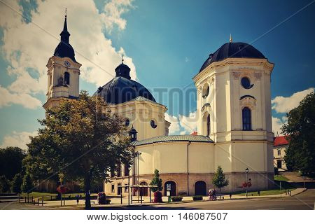 Church - monastery. Krtiny - Czech Republic. Virgin Mary - Baroque monument.