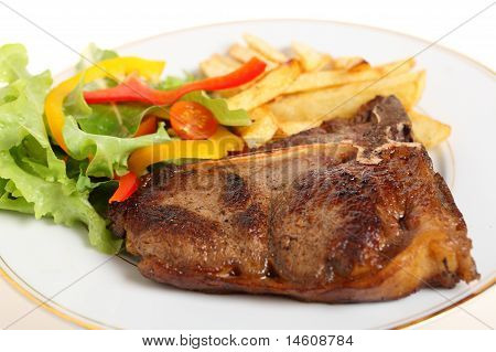 Pan-seared T-bone Steak Meal