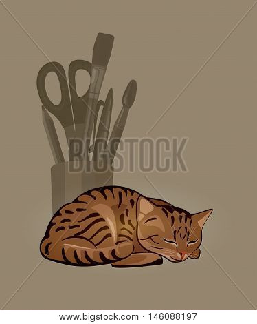 striped curled up cat sleeping in front of a bowl with stationery