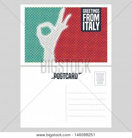 Italy vector postcard design with ok hand sign, gesture and Italian flag colors. Illustration, element, nonstandard mailing postcard with copyspace, mark, post office stamp and Greetings sign