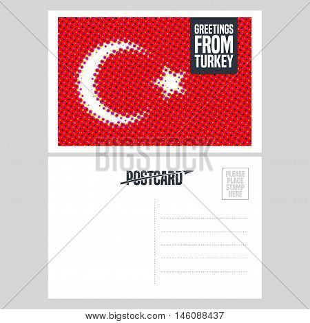 Turkey, Istanbul vector postcard design with Turkish flag. Template illustration, element, nonstandard mail postcard with copyspace, mark, stamp and Greetings from Turkey sign