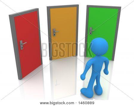 an drei Türen