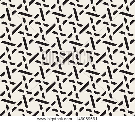 Vector Seamless Black and White Lattice Pattern. Abstract Geometric Background Design
