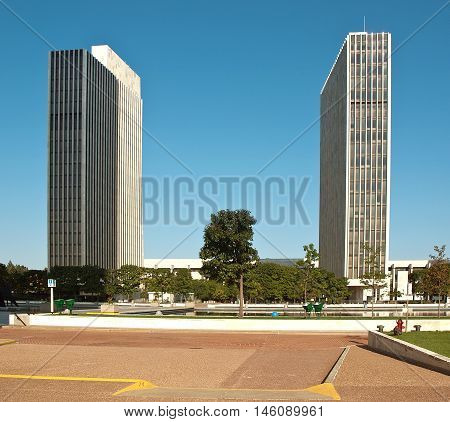 Albany New York USA. September 42016. Two of the four Agency Buildings on the grounds of the Empire State Plaza in Albany New York