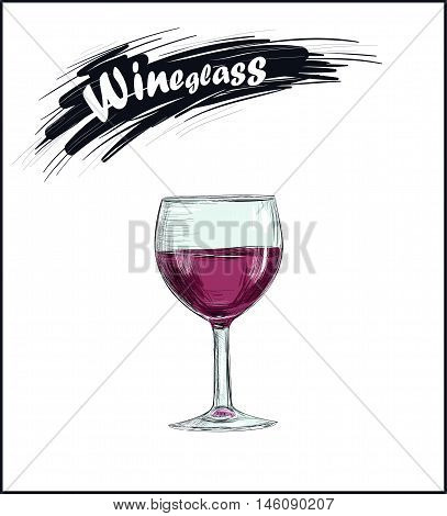 Wineglass with red wine. Glass of wine vector illustration art sketch