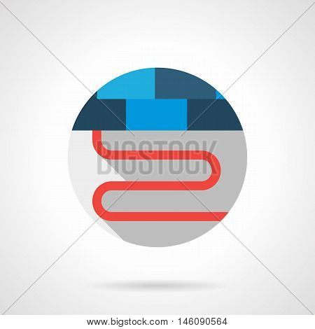 Red cord or pipe of floor heating system. Section under a blue ceramic tile. Flooring services symbol. Gray round flat vector icon with long shadow.