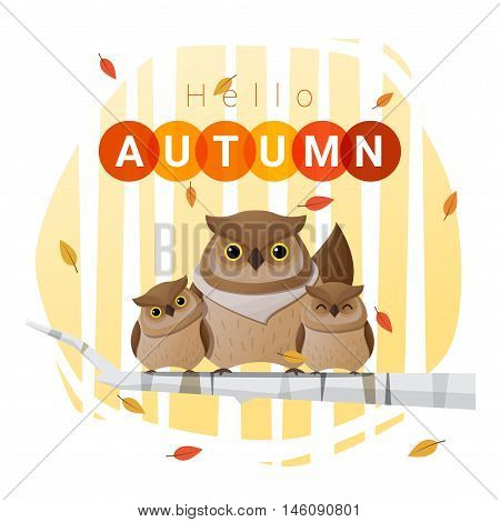 Hello autumn background with owl family , vector , illustration