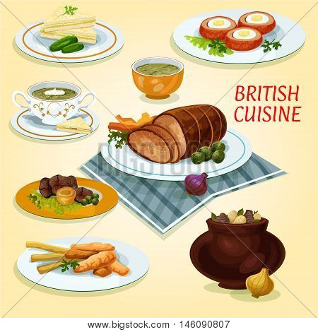 British cuisine lunch cucumber sandwiches icon served with fish and fries, roast beef with yorkshire pudding, irish vegetable stew, baked beef, baked scotch eggs, watercress cream soup, sorrel soup