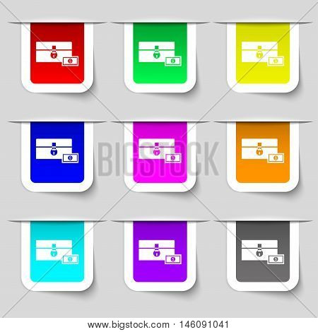 Chest Icon Sign. Set Of Multicolored Modern Labels For Your Design. Vector