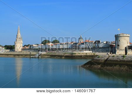Old harbour of La Rochelle the French city and seaport located on the Bay of Biscay, a part of the Atlantic Ocean