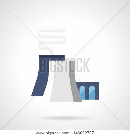 Chemical or petrochemical plant. Factory with blue and gray chimneys and abstract smoke. Global environment problems and industry. Flat color style vector icon.