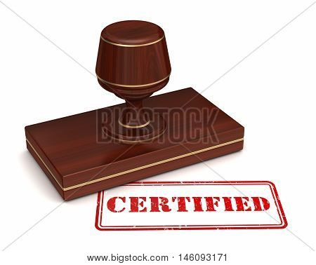 certified stamp 3d illustration isolated on white background