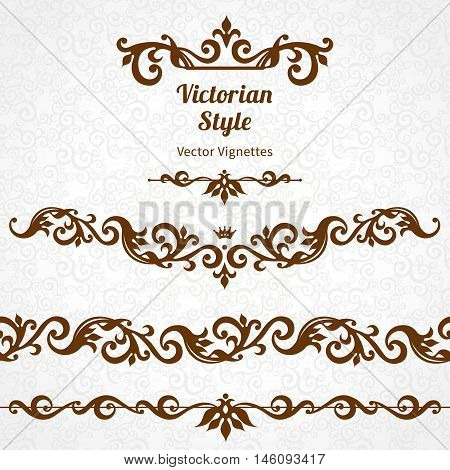 Vector Set Of Borders And Vignettes In Victorian Style.