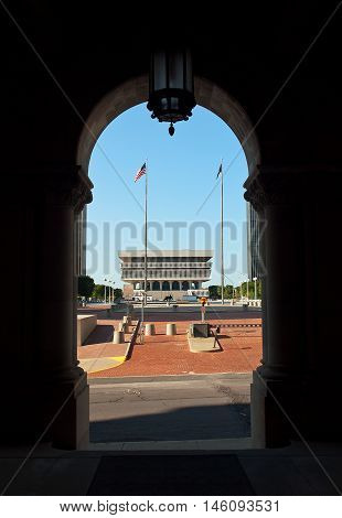 Albany New York USA. September 42016. View of the Empire State Plaza from the portico of the Capitol of the State of New York
