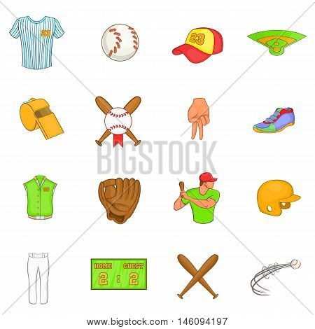 Baseball icons set in cartoon style. Softball equipment set collection vector illustration