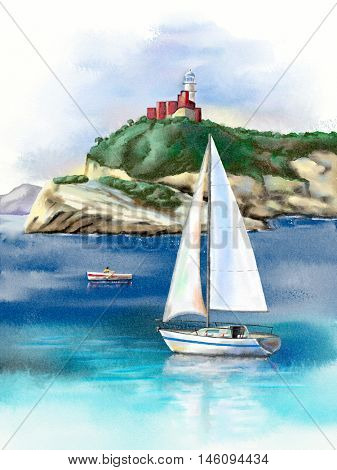 Seascape with sail and lighthouse. Digital watercolor.