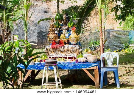 CHIANG RAI THAILAND - SEPTEMBER 1 : set of altar table in ancient Thai traditional style on September 1 2016 in Chiang rai Thailand.