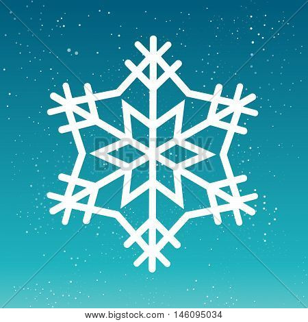 Beauful Winter Snowflake. White Snow Flake on Blue background.