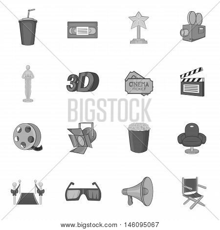 Cinema icons set in black monochrome style. Movie elements set collection vector illustration