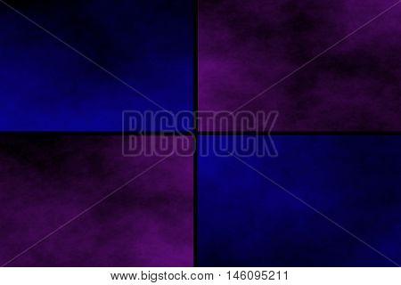 Black background with purple and dark blue rectangles
