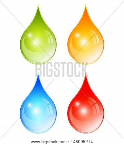 Color water drops set vector illustration isolated on white background