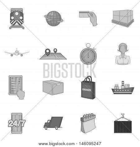 Logistics icons set in black monochrome style. Shipping and delivery set collection vector illustration